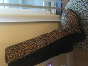 Cheetah knee-high slimming boots