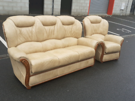 Taupe Italian Leather 3 Seater Sofa and Chair 🤩excellent condition 🤩
