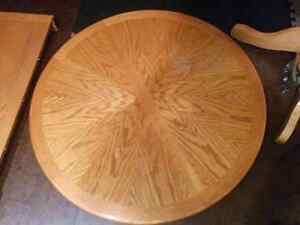 Hard wood table with expansion leaf