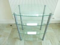 Hi Fi Stand by Sona 4 shelves in toughened clear glass with silver legs