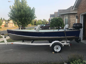 14ft aluminum boat with trailer 20hp Evinrude