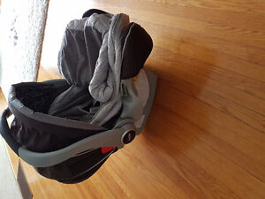 Car seat, base, and jj cole cover