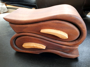Signed Wave carved wooden jewellery or trinket box-$75