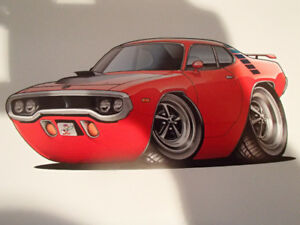 """1971 / 72 PLYMOUTH ROAD RUNNER RED WALL ART PICTURE 11"""" X 8.5"""""""