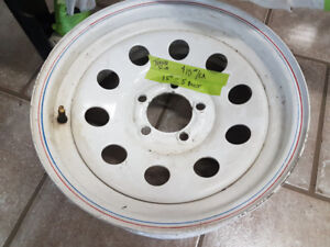 """Trailer Rims - 15"""" White painted Steel - 5 Bolt - Good Condition"""