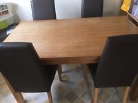 oak effect dining table with 4 brown leather effect chairs - from next