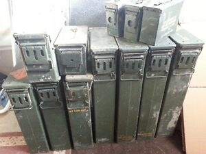 11 MILITARY METAL AMMO AMMUNTION BOXES DIFFERENT SIZES