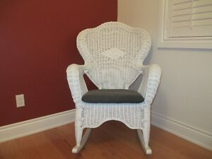 White Wicker Rocking Chair.