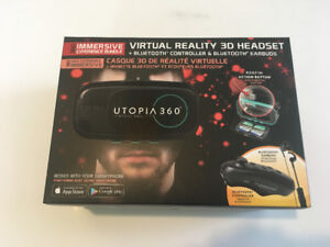 Virtual Reality VR 3D Headset Utopia 360 w/ bluetooth controller
