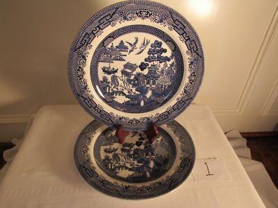 Churchill Blue Willow Dinner Plates  Set of 2 Blue & White (White Dinner Plates Bulk)