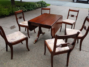 Antique Mahogany Table & Chairs