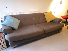 Brown/Grey 3 Piece Suite in very good condition - Delivery available