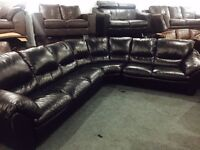 As new stunning large black soft leather corner sofa