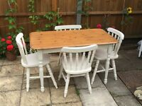 Solid White & Pine dining Table and Chairs Shabby Chic/ Country