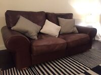 Leather Sofa Burgundy Large 2 seater