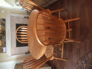Solid Wood Table & Chairs with Leaf