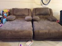 2 Microfibre Chaise Couch Loungers