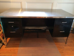 Large desk with stainless steel top