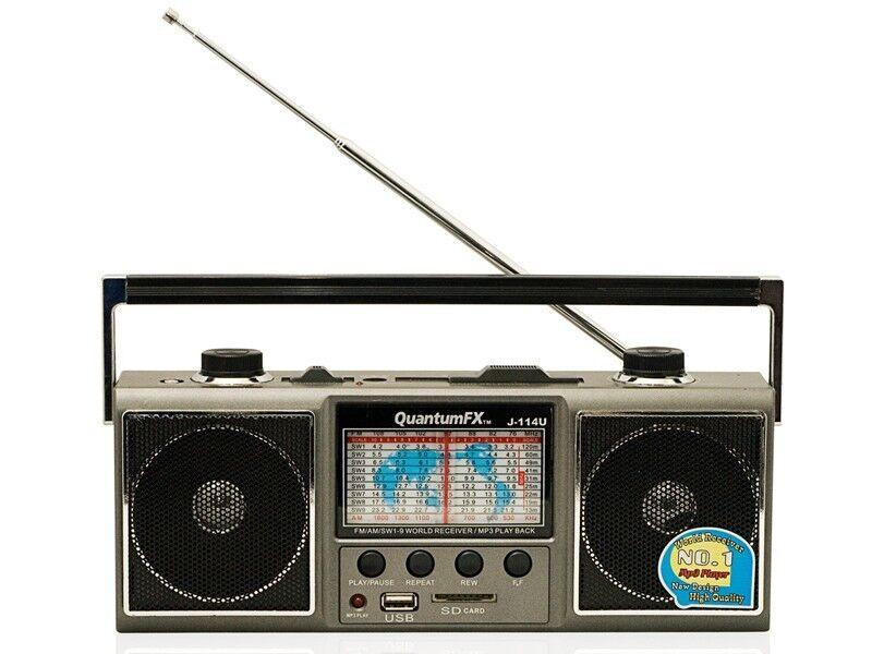QFX J-114U AM/FM Portable Radio Shortwave World Receiver +USB/SD Inputs