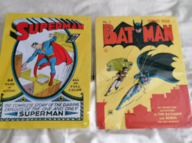 DC tin plates, comic and book ends