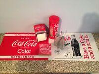 Coca Cola retro kitchen accessory bundle - straws coasters salt pepper shaker napkin mats
