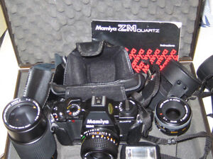35 mm Camera Mamiya ZM with 3 Lenses 35mm 50mm 200mm zoom +flash