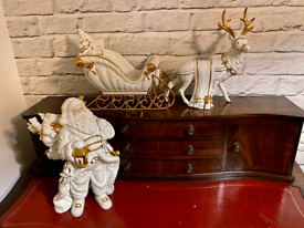 Vintage Handpainted Porcelain Santa with his Sleigh and a Reindeer