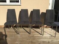 4 x Next Grey Fabric Dining Chairs
