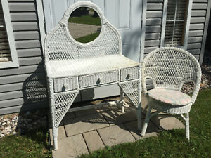 White Wicker Vanity Set Reduced Price