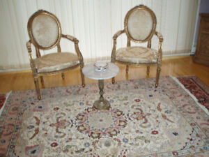 PAIR OF HAND CARVED GOLD  LEAFED BERGERE ARMCHAIRS