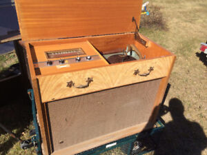 Antique Stereo Radio and LP Record Player