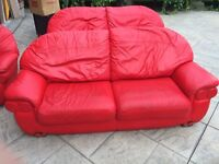 Ferrari Red Leather Couch and Chair Set