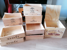 Wooden Wine Boxes French Spanish Italian