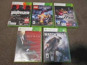 XBox 360 -Wolfenstein, Lego Hobbit, The Crew, Watch Dogs, Hitm_n