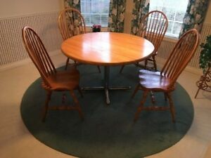 Oak Table and 4 Spindle back Chairs