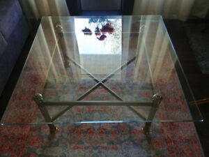 Antique Style Brass & Glass Coffee Table - Great Condition!