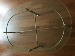 Antique Glass coffee table - brass hardware