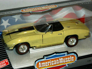 Ertl 1/18 Scale 1967 Chevrolet Corvette L-71 Diecast Car Yellow