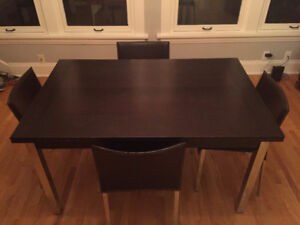 Modern dining table and six chairs