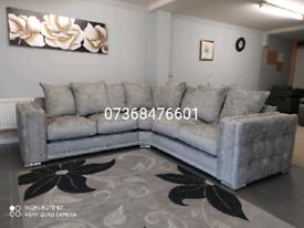 Beautiful brand new fabric grey corner sofa
