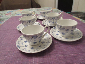 6 Myott Finlandia Cups and Saucer  Dainty Blue & White
