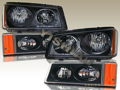 03 04 05 06 Chevy Silverado Avalanche Black Headlights + Bumper Lights Black for sale  Shipping to Canada