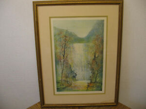 "Framed Lithograph ""Waterfall"" by Pau"