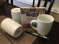 White Mugs and Glass/Porcelain Markers - Decorate, Craft, Gift