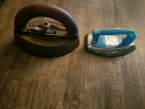 Antique sad irons and toy iron