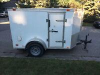 5x8 enclosed trailer – V nose, 3 doors, lights, many extras