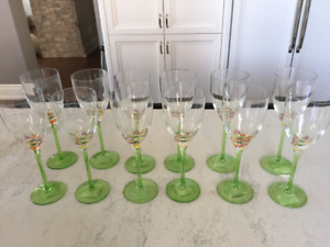 12 Brand New Hand Painted Wine Glasses