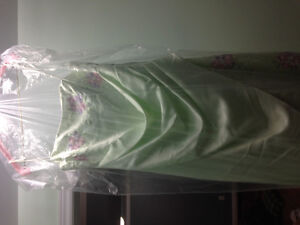 Prom Dress - dry cleaned - green with embroidery - size 14