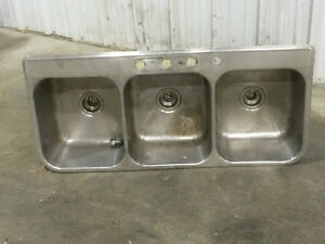 Triple  three bowl stainless steel sink