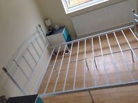 King size Metal Frame Bed with Kingsize Sprung mattress